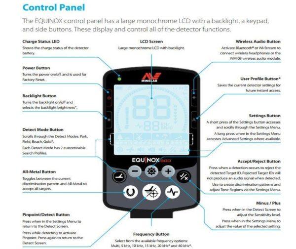 Minelab Equinox 600 Control Panel Specification