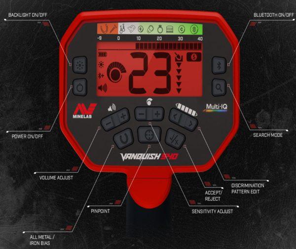 Minelab Vanquish 540 Control Panel