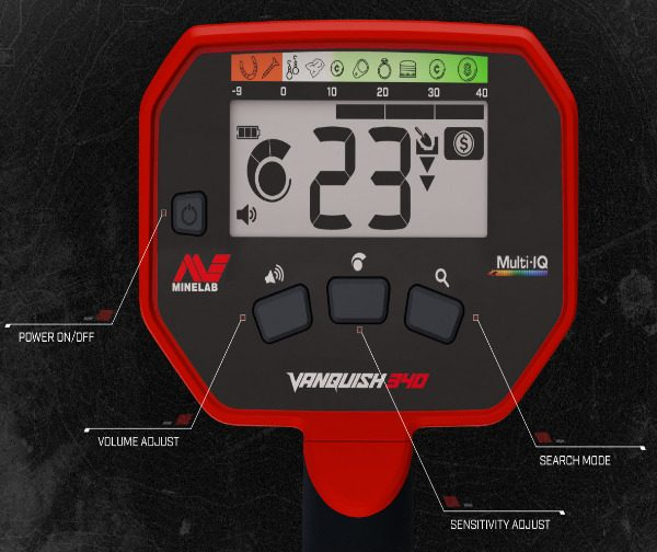 Minelab Vanquish 340 Control Panel
